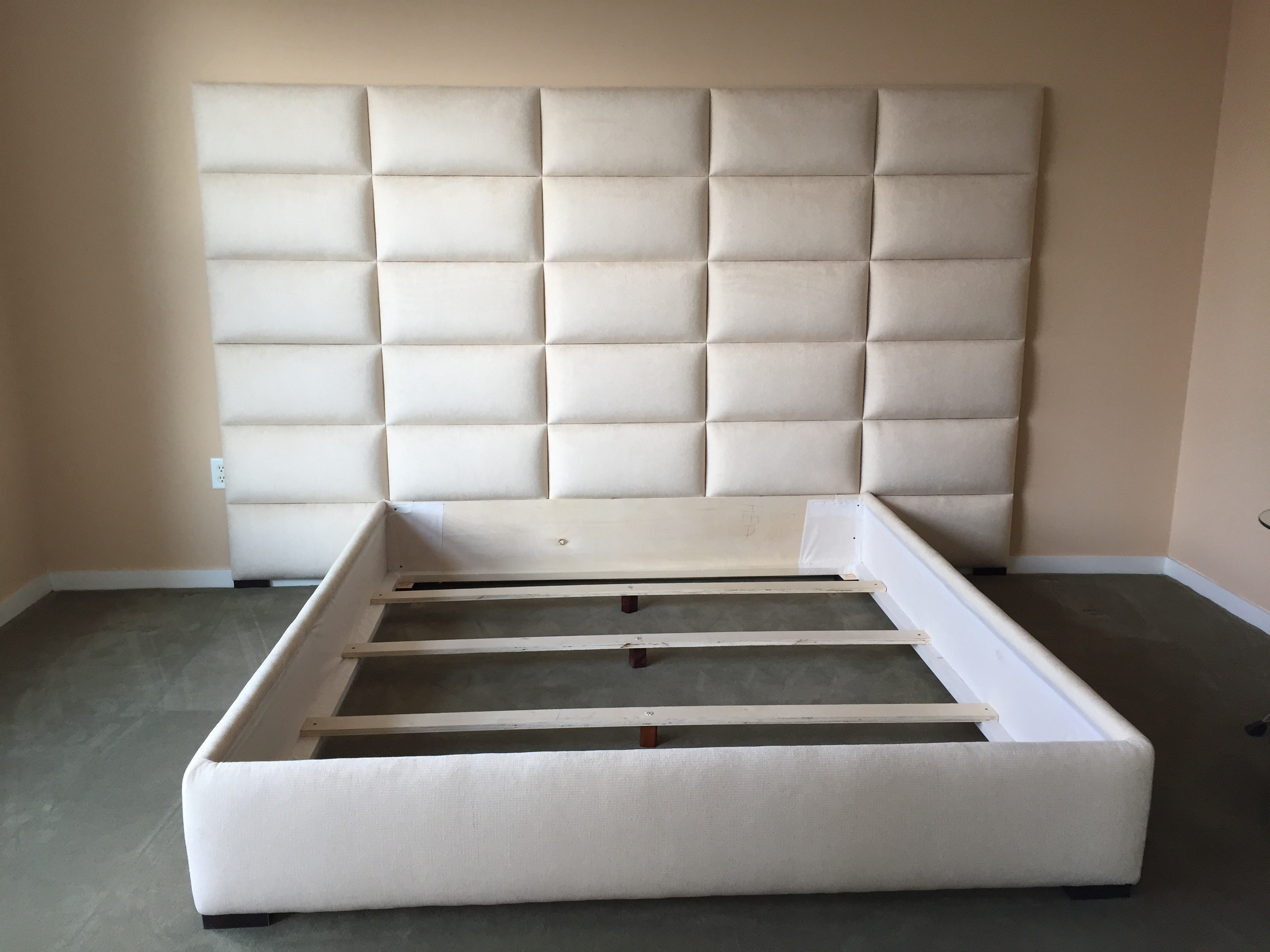 custom bed frame with headboard